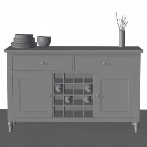 Raw 3D Model Of A Side Cupboard