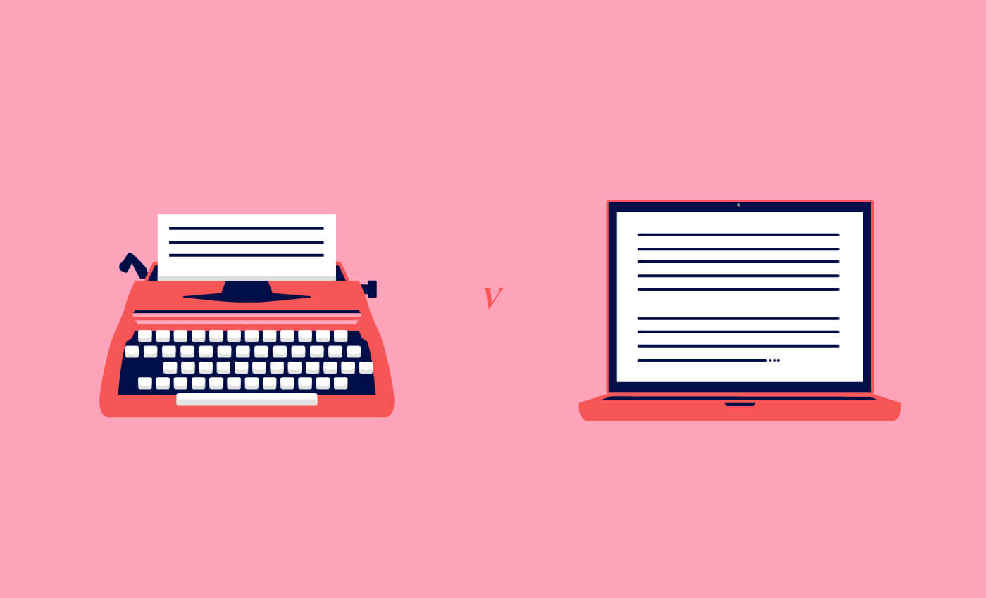 Illustration of a typewriter and laptop for the Traditional Marketing Vs Digital Marketing article